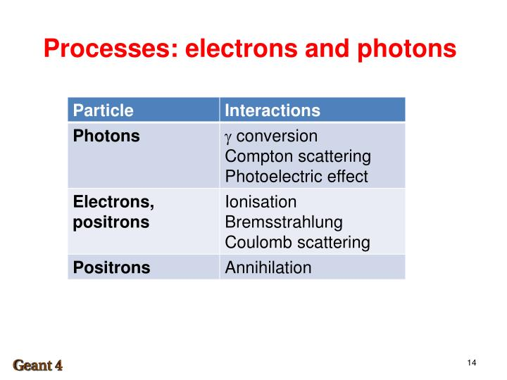Processes: electrons and photons