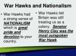 war hawks and nationalism