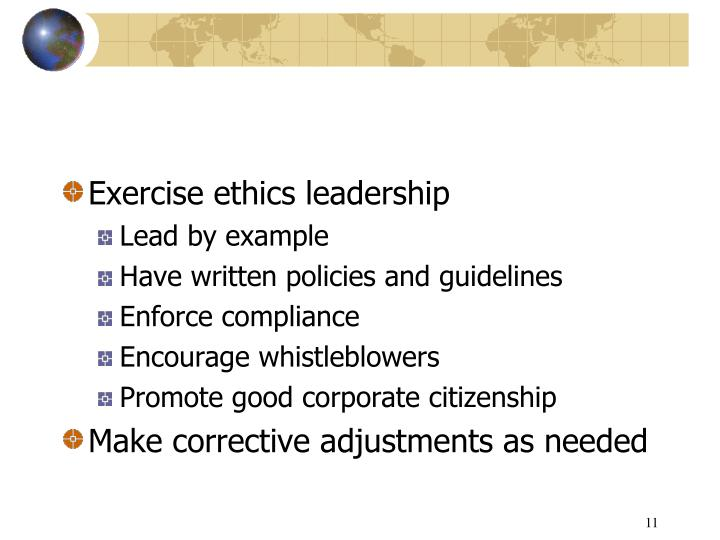 Exercise ethics leadership
