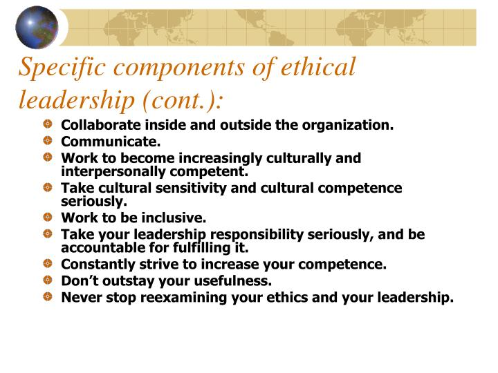Specific components of ethical leadership (cont.):
