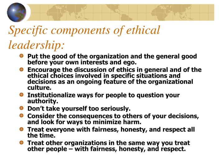 Specific components of ethical leadership:
