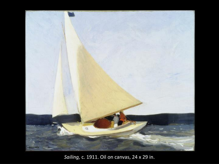 Sailing c 1911 oil on canvas 24 x 29 in