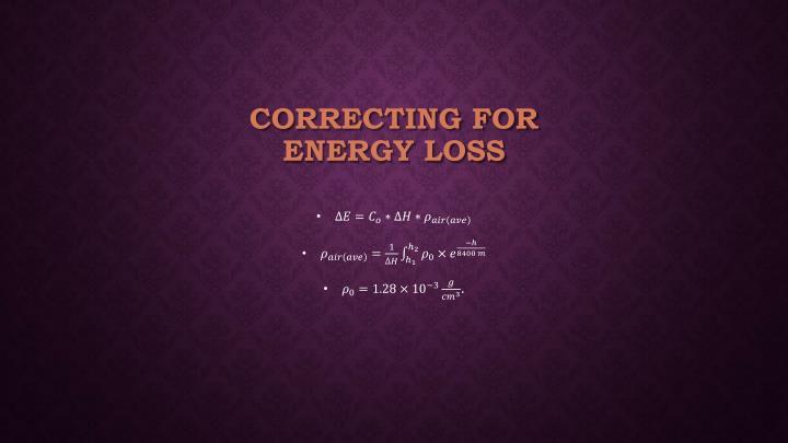 Correcting for Energy Loss