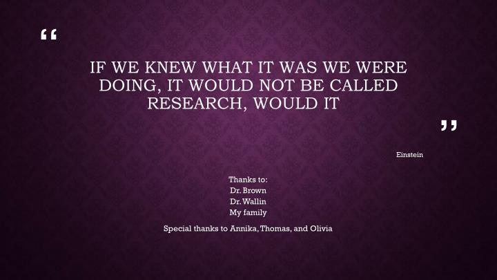 If we knew what it was we were doing, it would not be called research, would