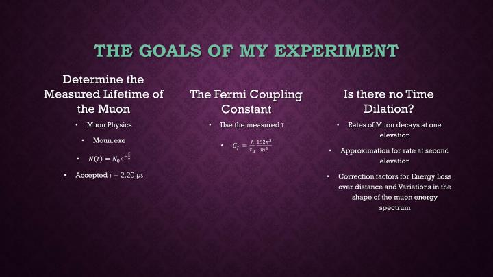 The goals of my experiment