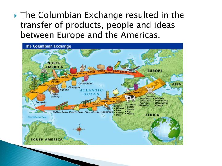 The Columbian Exchange resulted in the transfer of products, people and ideas between Europe and the Americas.