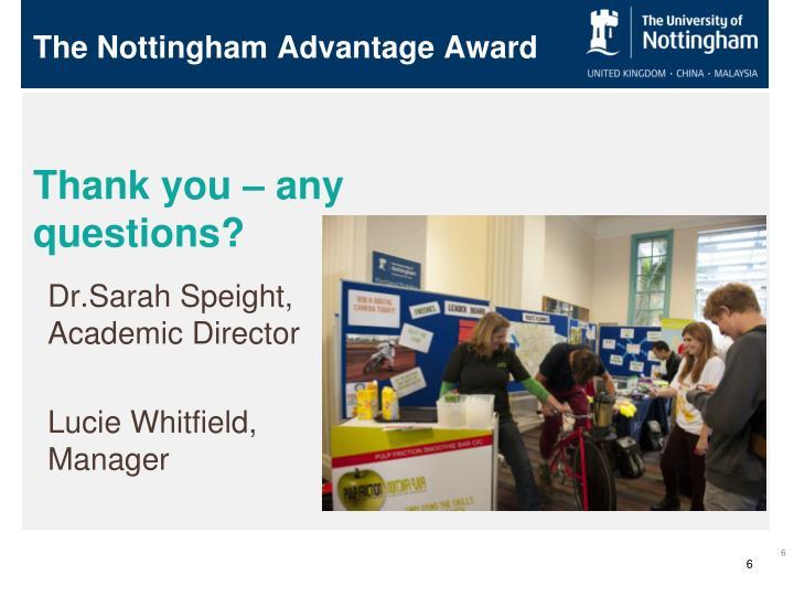 The Nottingham Advantage Award
