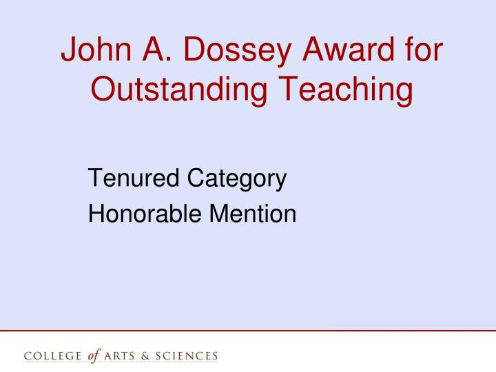 John A. Dossey Award for Outstanding Teaching