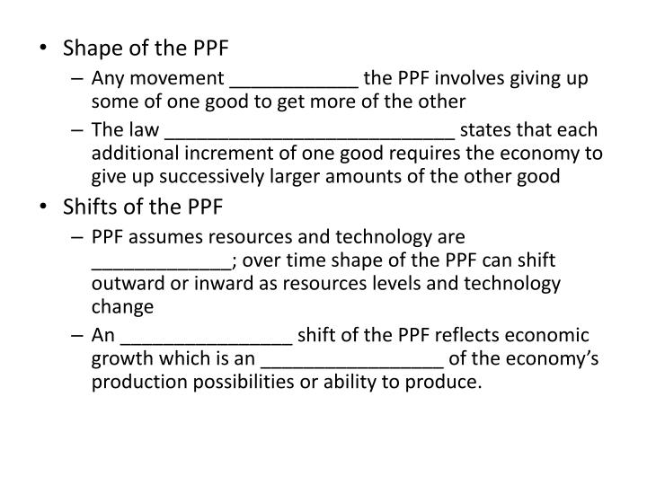 Shape of the PPF