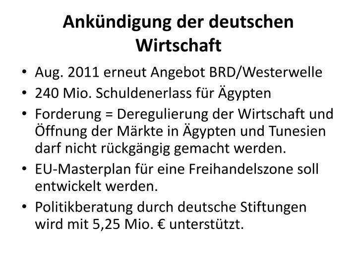 Ankündigung der deutschen Wirtschaft