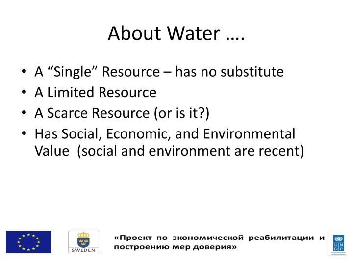 About Water ….