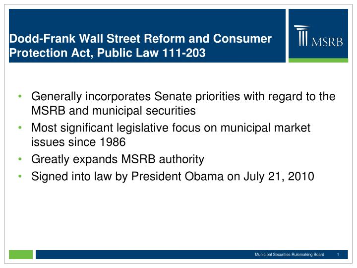 Dodd frank wall street reform and consumer protection act public law 111 203