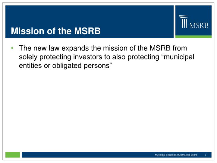 Mission of the MSRB