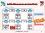 cms default vs new setting