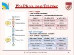 pb pb vs p p trigger