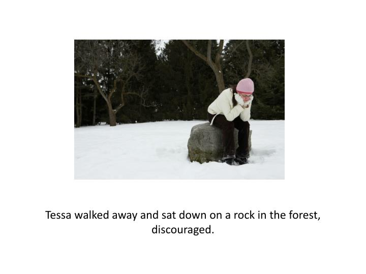 Tessa walked away and sat down on a rock in the forest, discouraged.