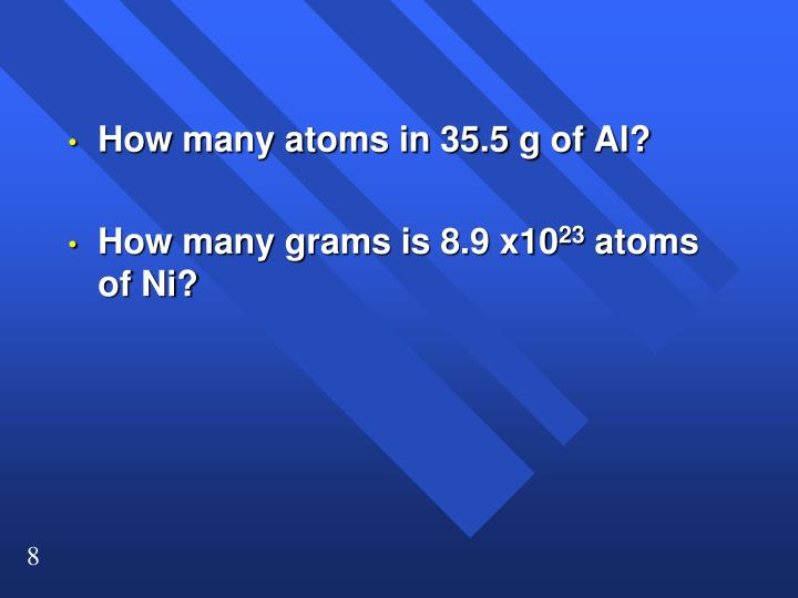 How many atoms in 35.5 g of Al?
