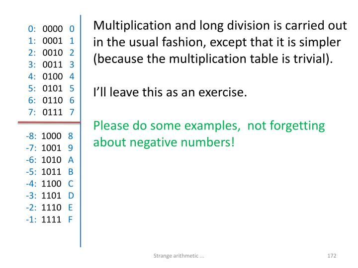 Multiplication and long division is carried out in the usual fashion, except that it is simpler (because the multiplication table is trivial).