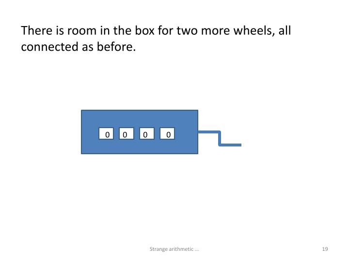 There is room in the box for two more wheels, all connected as before.