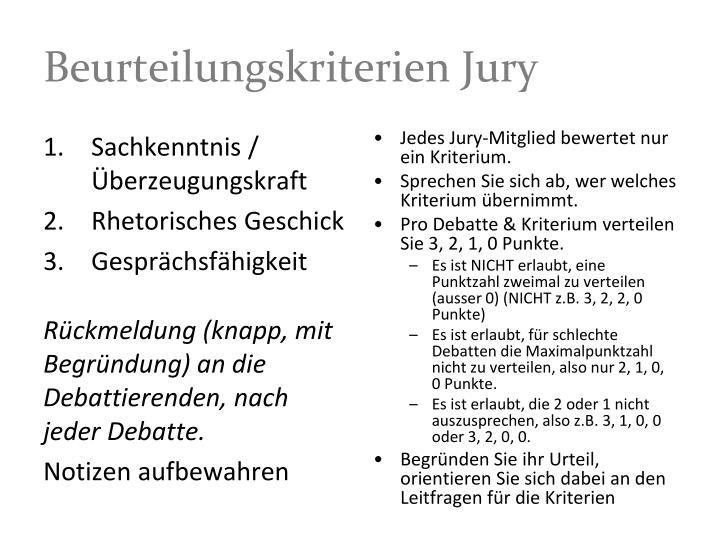 Beurteilungskriterien Jury