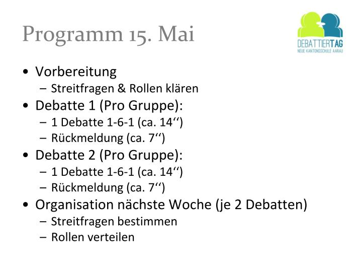 Programm 15. Mai