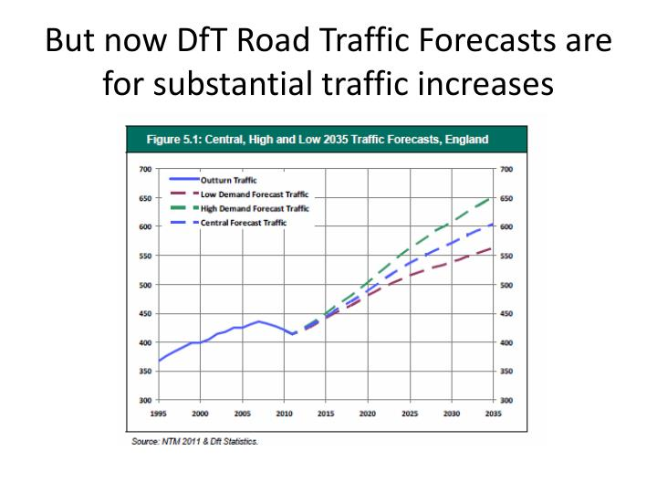 But now DfT Road Traffic Forecasts are for substantial traffic increases