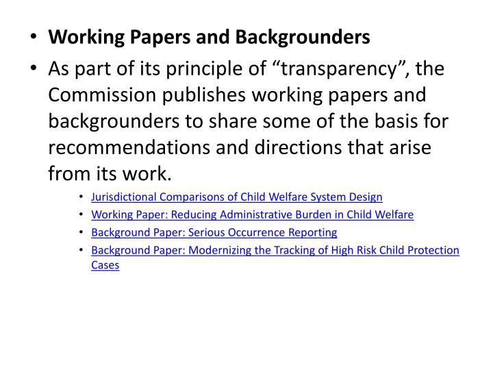Working Papers and Backgrounders
