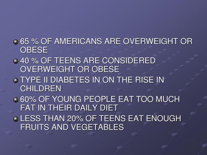 65 % OF AMERICANS ARE OVERWEIGHT OR OBESE