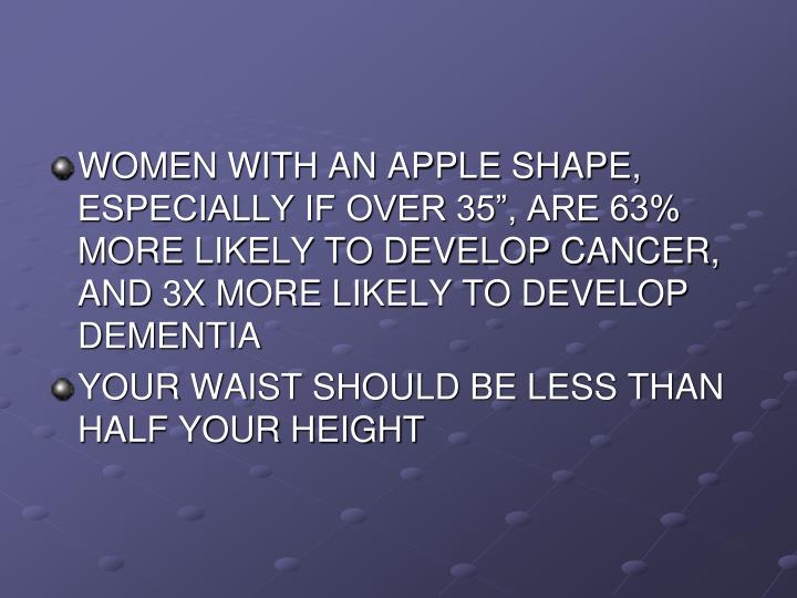 """WOMEN WITH AN APPLE SHAPE, ESPECIALLY IF OVER 35"""", ARE 63% MORE LIKELY TO DEVELOP CANCER, AND 3X MORE LIKELY TO DEVELOP DEMENTIA"""