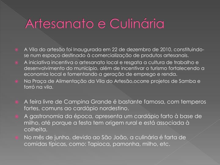 Artesanato e Culinária
