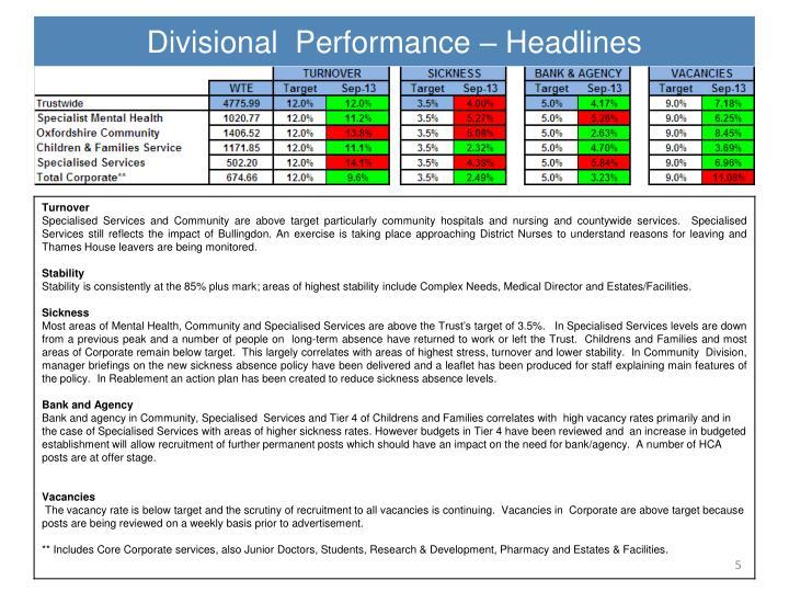 Divisional  Performance – Headlines