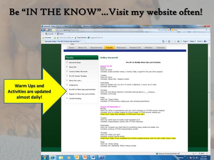 """Be """"IN THE KNOW""""…Visit my website often!"""
