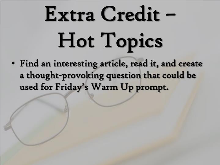 Extra Credit –
