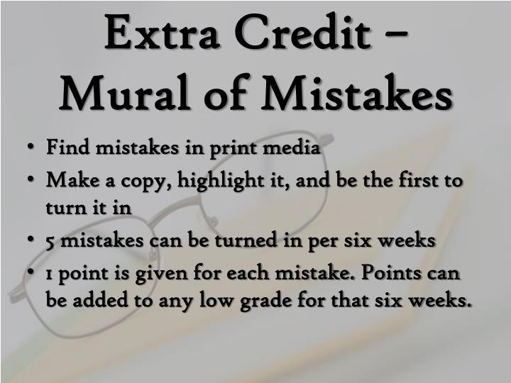 Extra Credit – Mural of Mistakes
