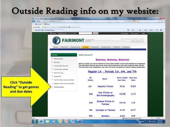 Outside Reading info on my website: