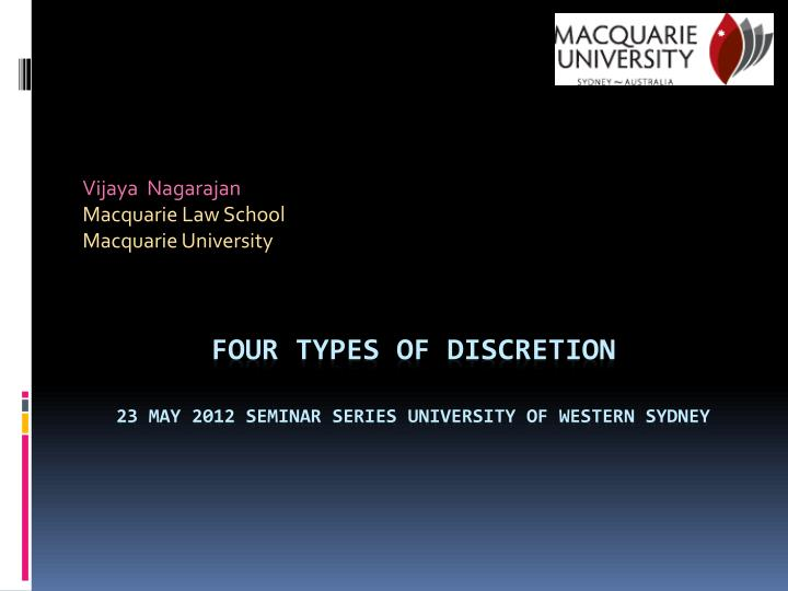 Vijaya nagarajan macquarie law school macquarie university