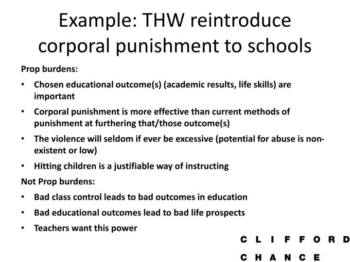 Example: THW reintroduce corporal punishment to schools