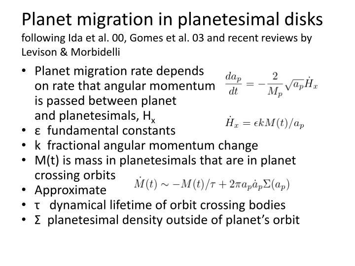 Planet migration in planetesimal disks