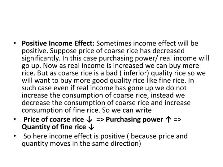 Positive Income Effect: