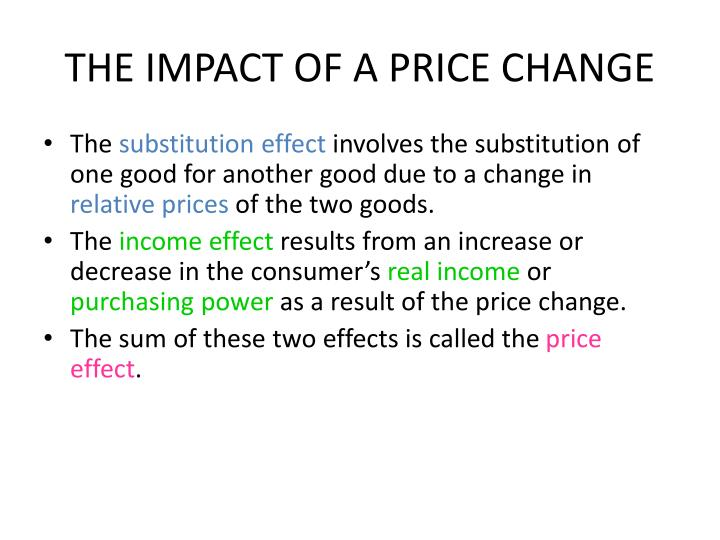 THE IMPACT OF A PRICE CHANGE