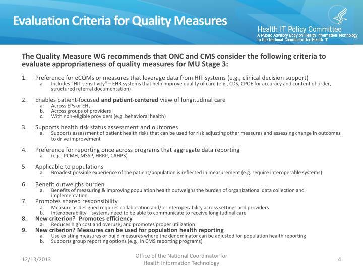Evaluation Criteria for Quality Measures