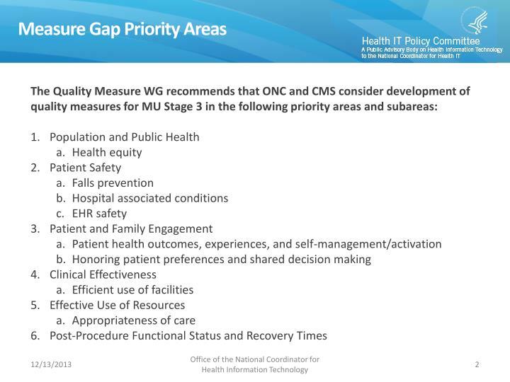 Measure Gap Priority Areas