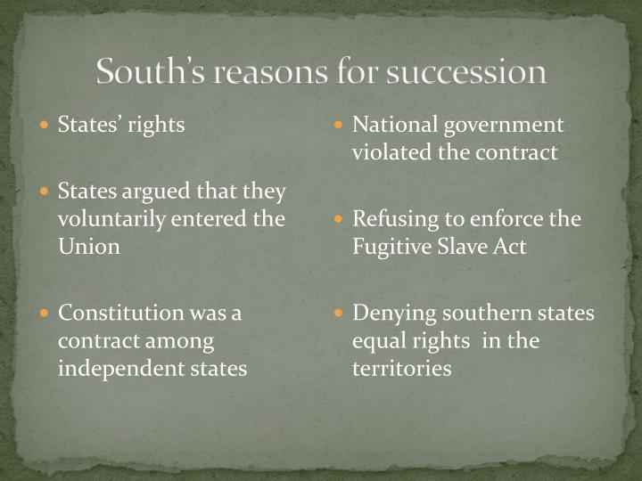 South's reasons for succession