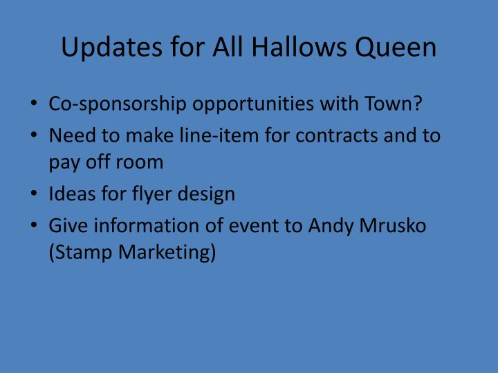 Updates for All Hallows Queen