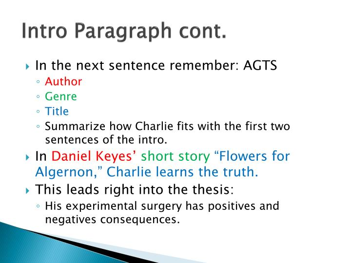 Intro Paragraph cont.