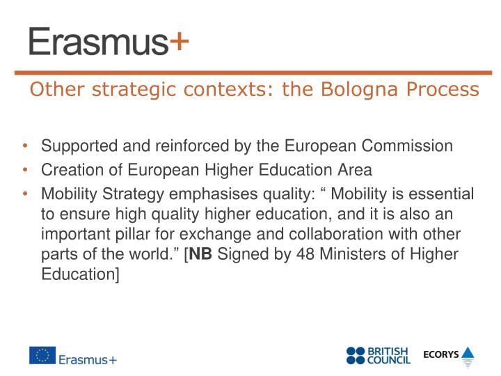 Other strategic contexts: the Bologna Process