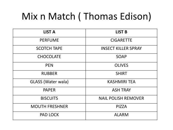 Mix n Match ( Thomas Edison)