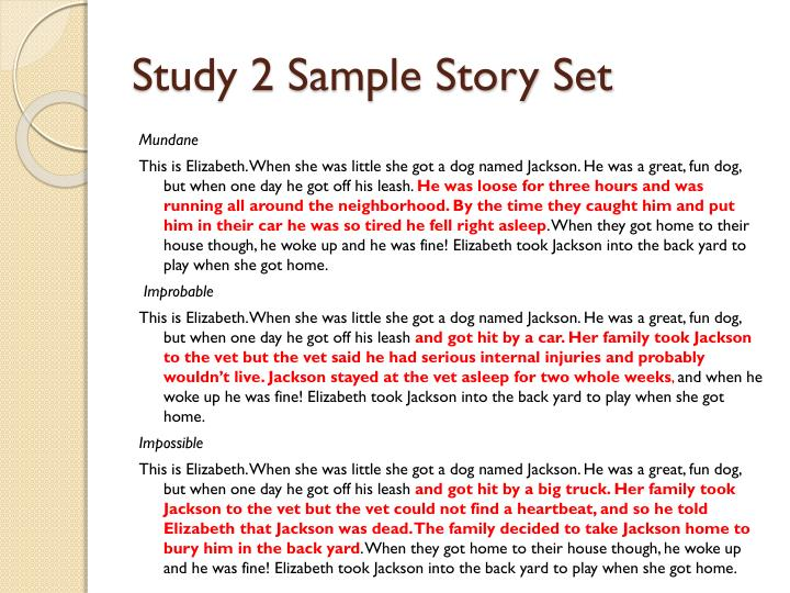 Study 2 Sample Story Set