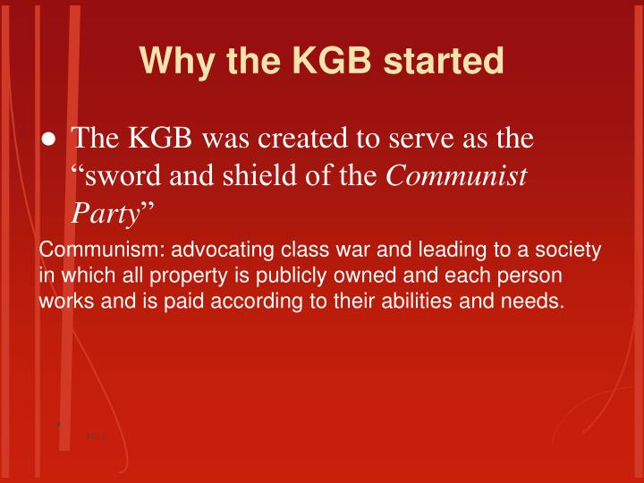 Why the kgb started