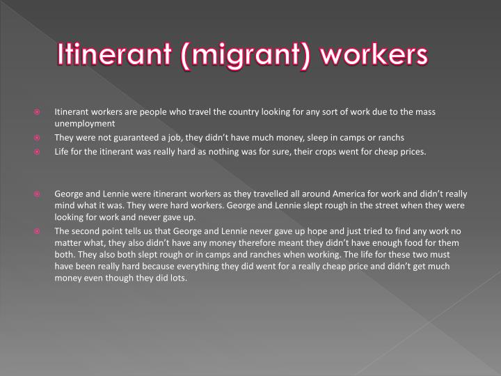 Itinerant (migrant) workers